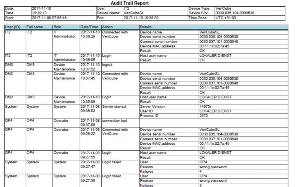 Audit Trail Reportanzeige